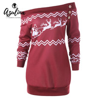 AZULINA Christmas Women Sweatshirt Autumn Plus Size 5XL Zigzag Deer Pullover Sweatshirts Casual Button Long Tops