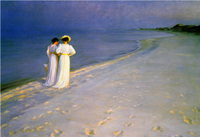 Summer Evening on the Skagen Southern Beach Peter Severin Kroyer oil painting High quality Portrait painting woman Hand painted