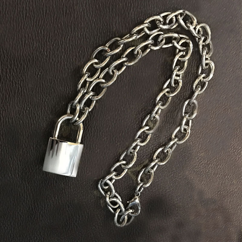 heavy choker item necklace b chain metal men duty handmade unisex women collar padlock lock square