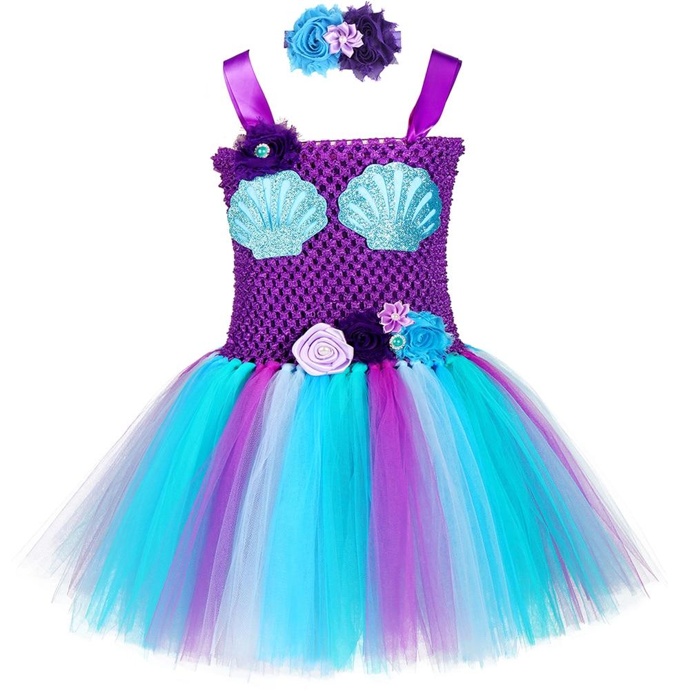 Kids Flower Girls Party Ariel Mermaid Tutu Fancy Dress Costume Headband Outfit
