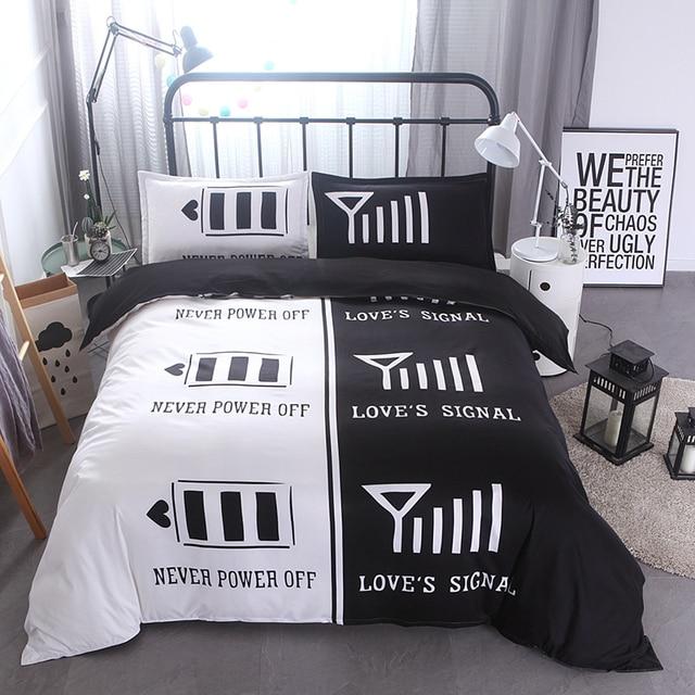Black White Creative Lover Couple Sweet Double Queen King Size Duvet Cover Pillowcase Bedding Set Soft Bed Linen 200x200 228x228