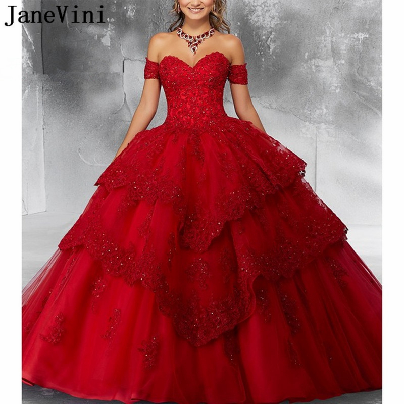 JaneVini Luxury Princess Ball Gown Red Quinceanera Dresses Sweetheart Appliques Heavy Beaded Pageant Prom Gowns Vestidos