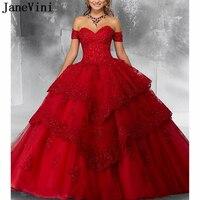 JaneVini Роскошные принцессы бальное платье красное платье Quinceanera аппликация «сердце» с крупным бисером Пышное платье для выпускного бала Vestidos