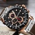 Спортивные мужские часы MEGIR  фирменные кварцевые часы с большим циферблатом и кожаным ремешком
