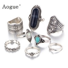 8  Pieces Vintage Bohemian Rings Set Lmitation Black And Blue Stone Carved Midi Ring Set Boho Ring Set