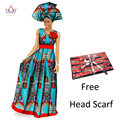 Африканская Одежда Традиционной Африканской Печати Уникальный Dashiki Dress Рукавов Maxi Dress Sego Headtie для Женщин Африканских Одежды WY222
