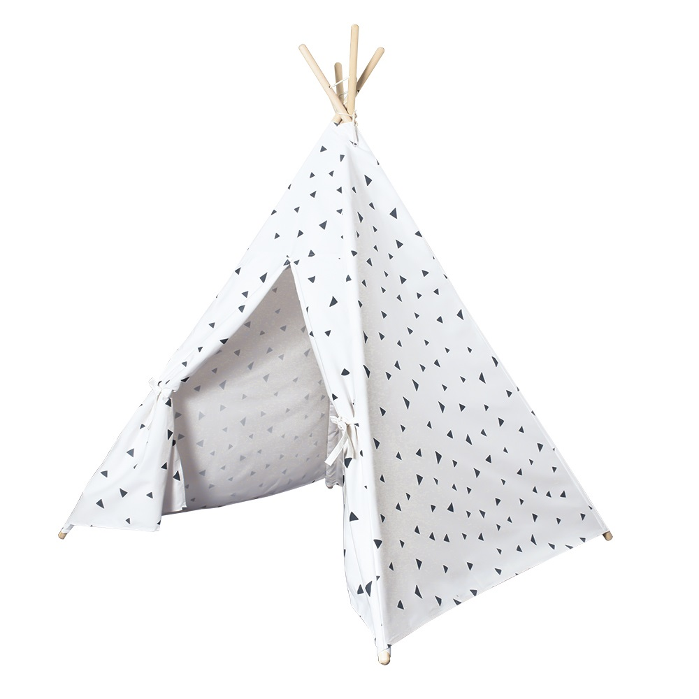 Wooden Poles Kids Indian Tent Triangle Printed Teepees Children Play Tent Cotton Canvas Tipi for Baby Room Toys four poles kids play tent cotton canvas teepee children toy tent white pink blue playhouse for baby room tipi