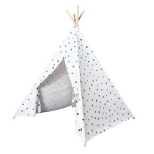 Wooden Poles Kids Indian Tent Triangle Printed Teepees Children Play Tent Cotton Canvas Tipi for Baby Room Toys tipi tent kinderkamer