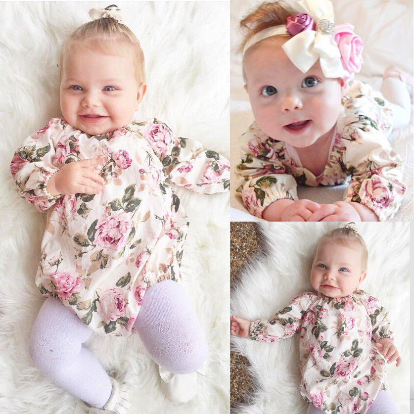 Floral Long Sleeve Infant Baby Girl Kid Long Sleeve Romper Jumpsuit Cotton Outfit newborn infant baby girl clothes strap lace floral romper jumpsuit outfit summer cotton backless one pieces outfit baby onesie