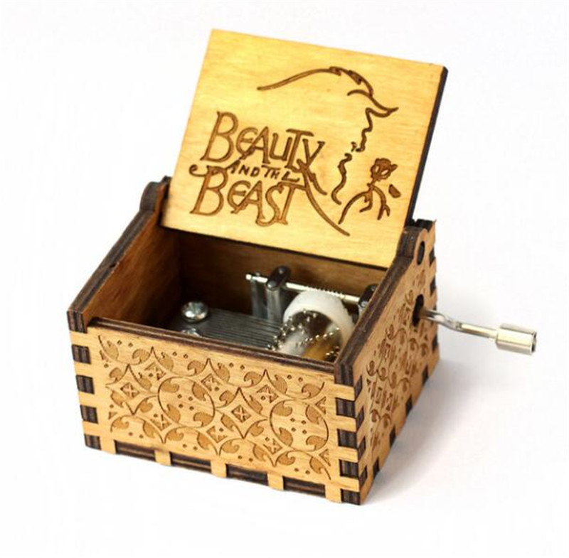 Hot Vintage Hand Crank Wooden Music Box Jack Sparrow from Pirates of the Caribbean Plays Melody Davy Jones Music Box Mechanism