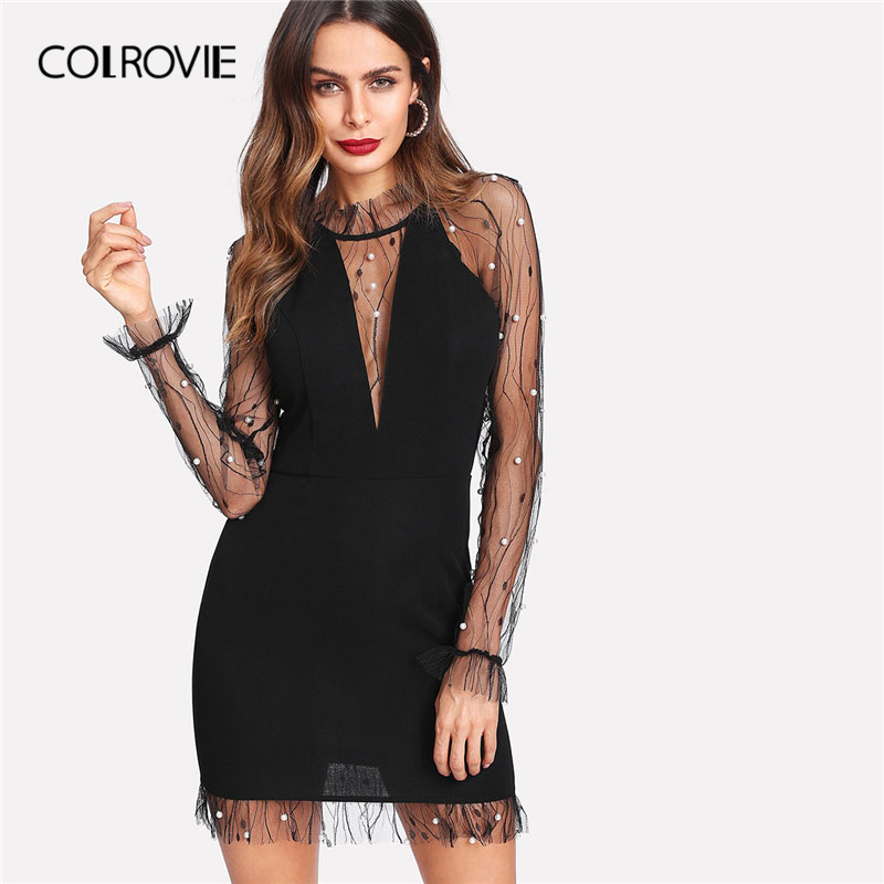 COLROVIE Black Pearl Beading Vine Mesh Panel Dress Women Ruffle Round Neck Long Sleeve Sexy Dress Party Bodycon Dress