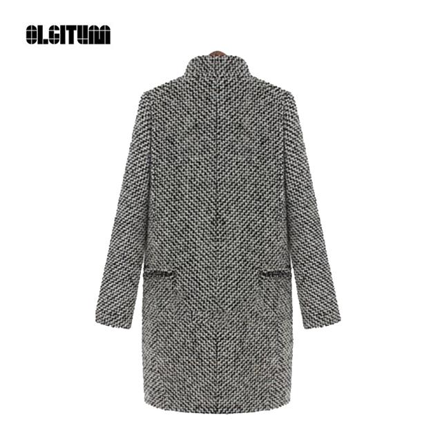 Trench Coat para as mulheres 2016 moda Outono Inverno das mulheres longo misturas de lã longo casacos femininos do vintage listrado frete grátis