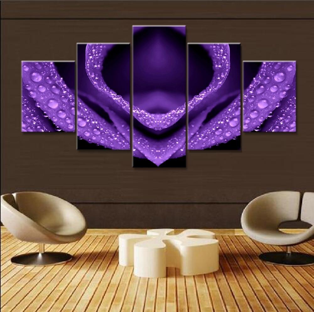 5 piece canvas art purple roses flower cuadros decoracion paintings on canvas wall art for home - Cheap Canvas Wall Art