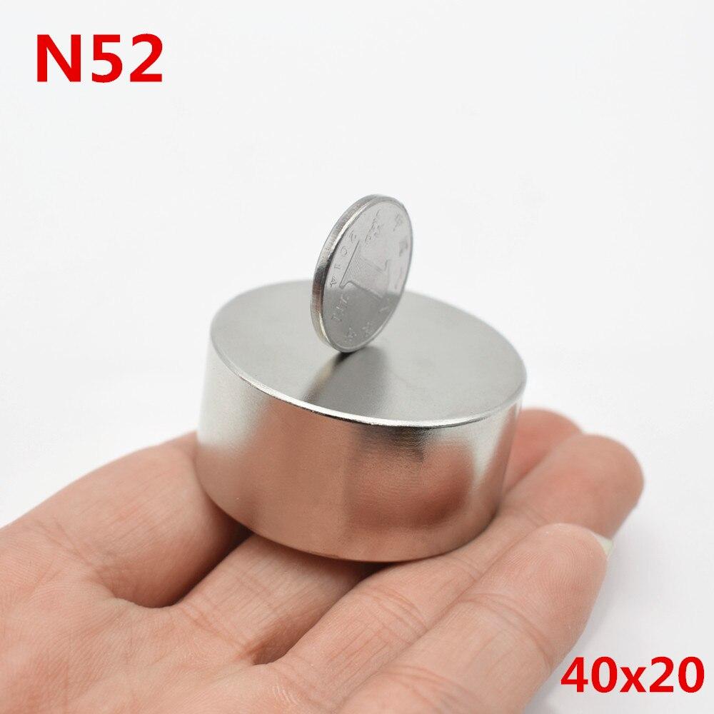 1 pz magnete Al Neodimio 40x20 N52 terre rare super forte potente rotonda di ricerca permanente magnete DISCO 40 * 20mm gallio metallo