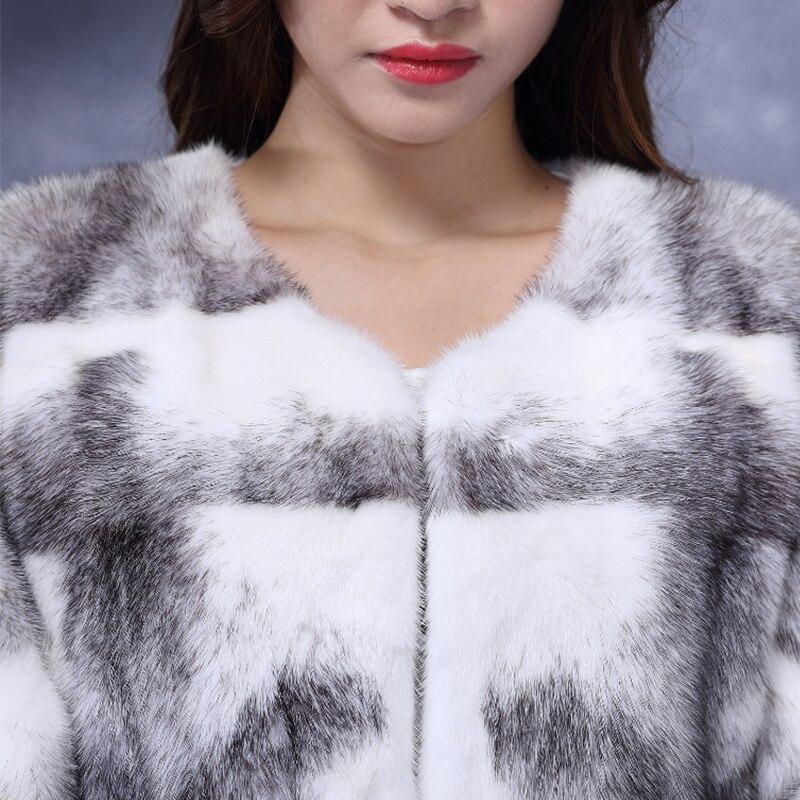 LVCHI 2019 Çapraz Çizgili kadın Gerçek Kürk Deri Çapraz Vizon - Bayan Giyimi - Fotoğraf 5