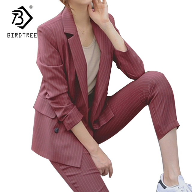 4ade8a128e6 2018 New Women 2 Piece Set Female Striped Jacket Red Blazer Pants Suit  Elegant Vintage Business Formal Suits For Work S89605F