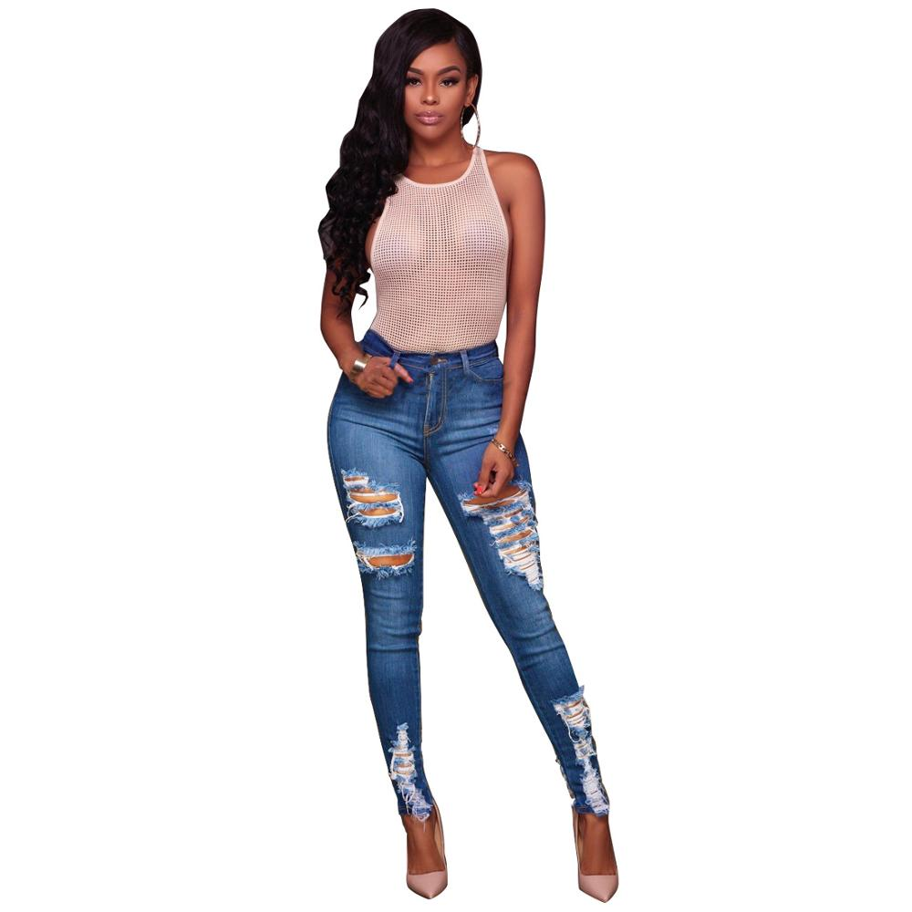 Echoine Women High Waist Vintage Hole Hollow Out Skinny Jeans Pants 2019 New Arrival Summer Bodycon Denim Long Pants Trousers in Jeans from Women 39 s Clothing