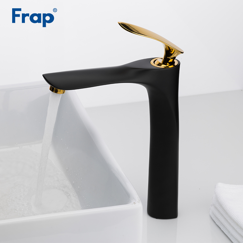 Frap Black Golden Brass Bathroom basin Faucet Luxury Sink Mixer Tap Deck Mounted Hot And Cold Water Mixer Sink Tap Faucet Y10098 luxury golden brass phoenix deck mounted bathroom basin faucet sink water mixer tap