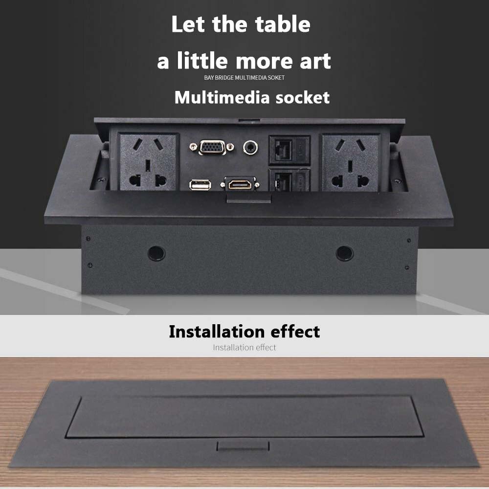 Prise de table universelle cachée prise de bureau multimédia haute définition HDMI prise USB Pop-up prise murale norme AU/EU/US