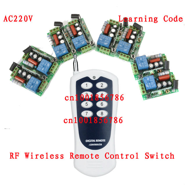Free shipping AC220V 1CH Radio remote control switch light lamp LED ON OFF 6Receiver&1transmitter Learning Code стоимость