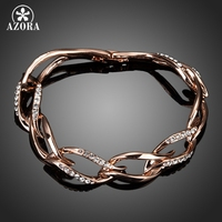18K Rose Gold Plated Clear SWA Element Austrian Crystal 8 Elliptical Connected Bangle Bracelet FREE SHIPPING