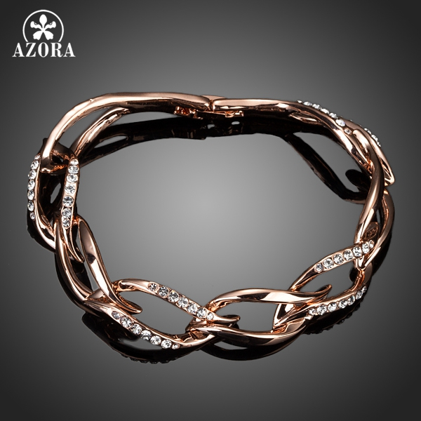 Prix pour AZORA Dernière Conception Or Rose Couleur Effacer Stellux Cristal Autrichien 8 Feuilles Connecté Bracelet TS0051