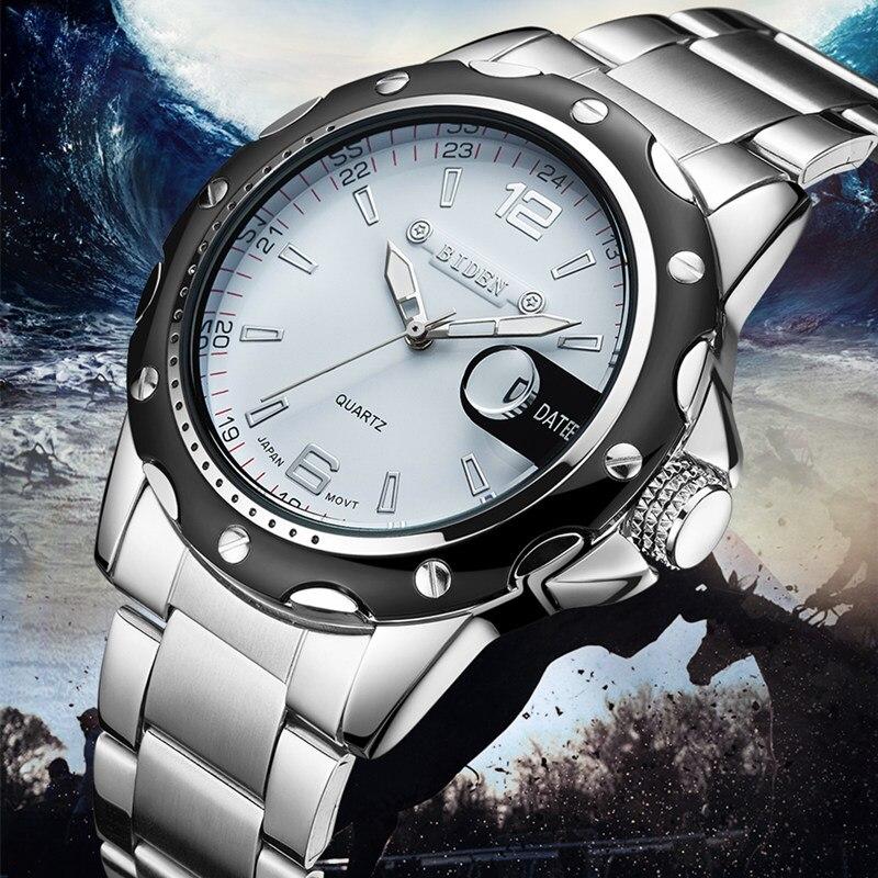 Prix pour 2016 BIDEN marque montres hommes quartz d'affaires de mode casual montre en acier plein date 30 m étanche montres sport militaire wa