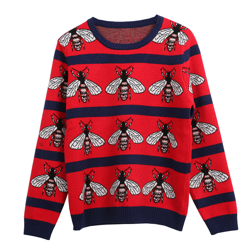 New Luxury 2019 Men Winter Embroidered Bees Striped Knit Casual Sweaters Pullovers Asian Plug Size High Quality Drake #AB70