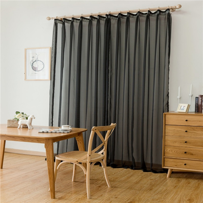 Curtain For Balcony: Solid Color Tulle Curtain Screens Sheer Curtains For