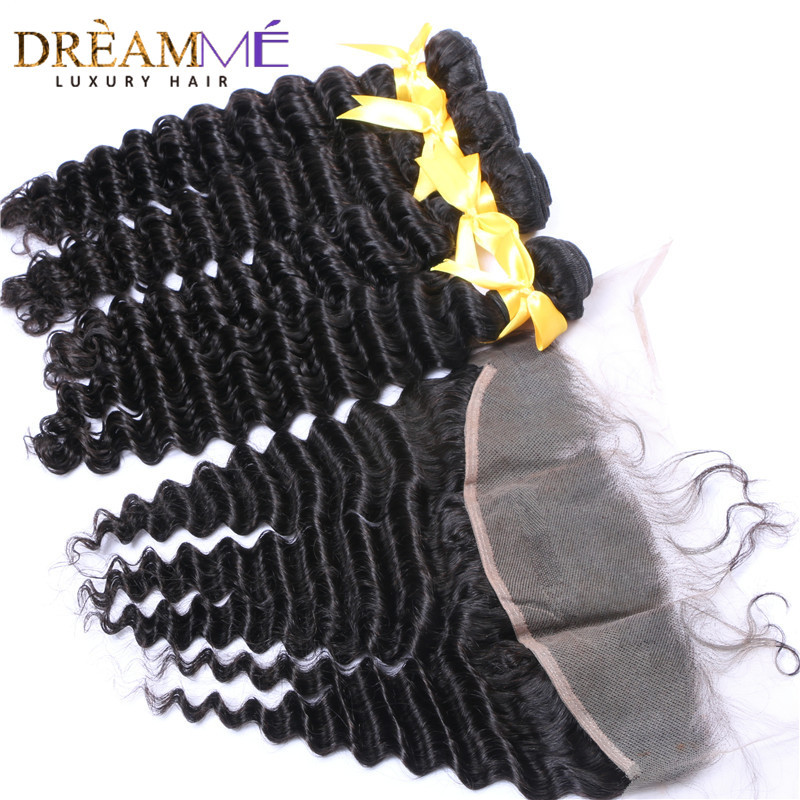 kinky curly human hair extension with 13x4 lace frontal closure (2)
