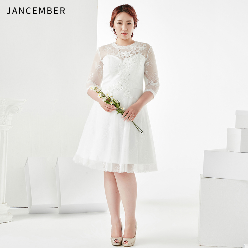 JANCEMBER Plus Size Cocktail Dresses Three Quarter Illusion High O-Neck Knee-Length Zipper Back Applique Sequins Vestidos Coctel
