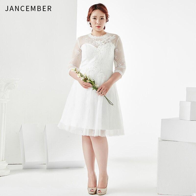 JANCEMBER Plus Size   Cocktail     Dresses   Three Quarter Illusion High O-Neck Knee-Length Zipper Back Applique Sequins vestidos coctel