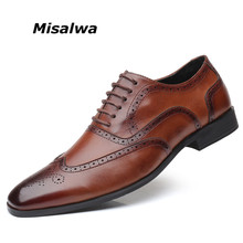 Misalwa Big Size 38-48 Men's Wingtip Lace-Up Modern Classic Dress Shoes Men Oxfords Shoes Leather Brogue Men Loafers For Daily(China)