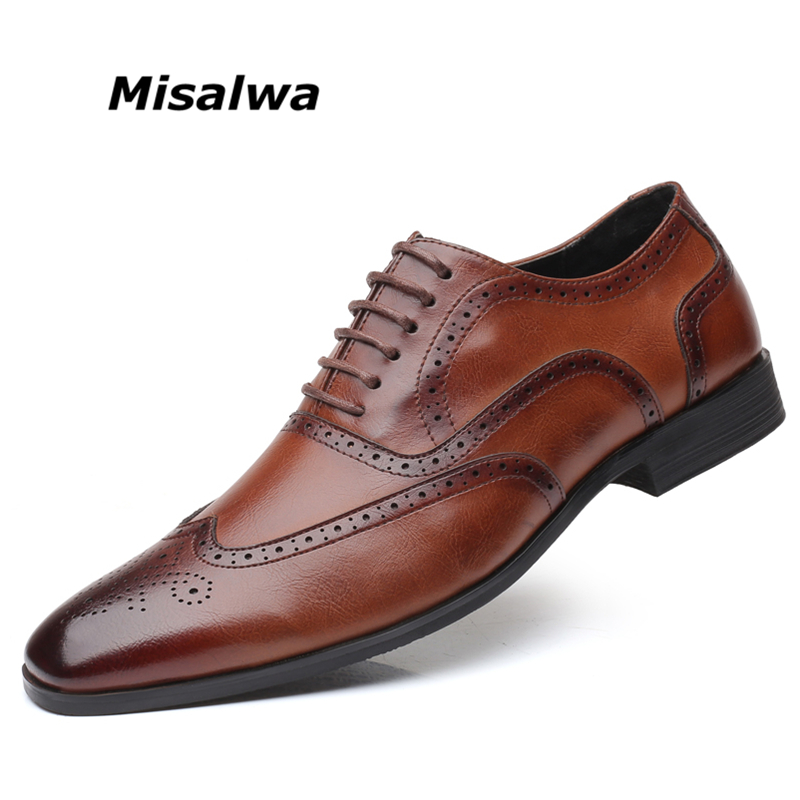 Misalwa Big Size 38 48 Men's Wingtip Lace Up Modern Classic Dress Shoes Men Oxfords Shoes Leather Brogue Men Loafers For Daily