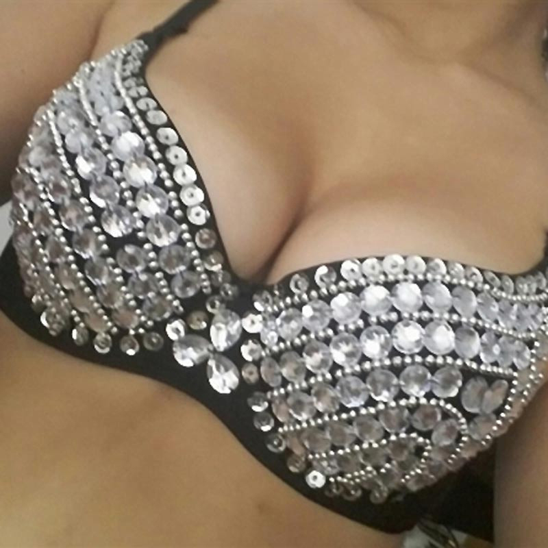 2017 Sexy Bra Women Push Up Luxury Handmade Sequined Bra Lady Silver Punk Style Studded Sponge Bras For Show Party