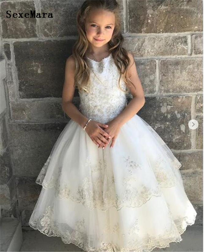 Well-Designed Lace Tulle Princess with Bow Buttons Jewel Neck Sleeveless Custom Made   Flower     Girl     Dress     Girls   Pageant Gowns Longo