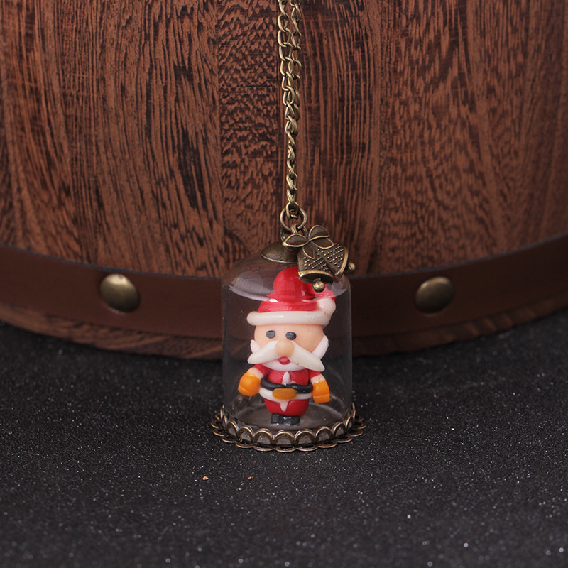 XIAOJINGLING Handmade Glass Bottle Santa Claus Necklace Vintage Bells Pendant Christmas Gift Luminous Sweater Necklace For Women