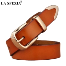 LA SPEZIA Brown Women Belt Genuine Leather Metallic Waist Belts Ladies Pin Buckle Real Female Designer Brand 120cm