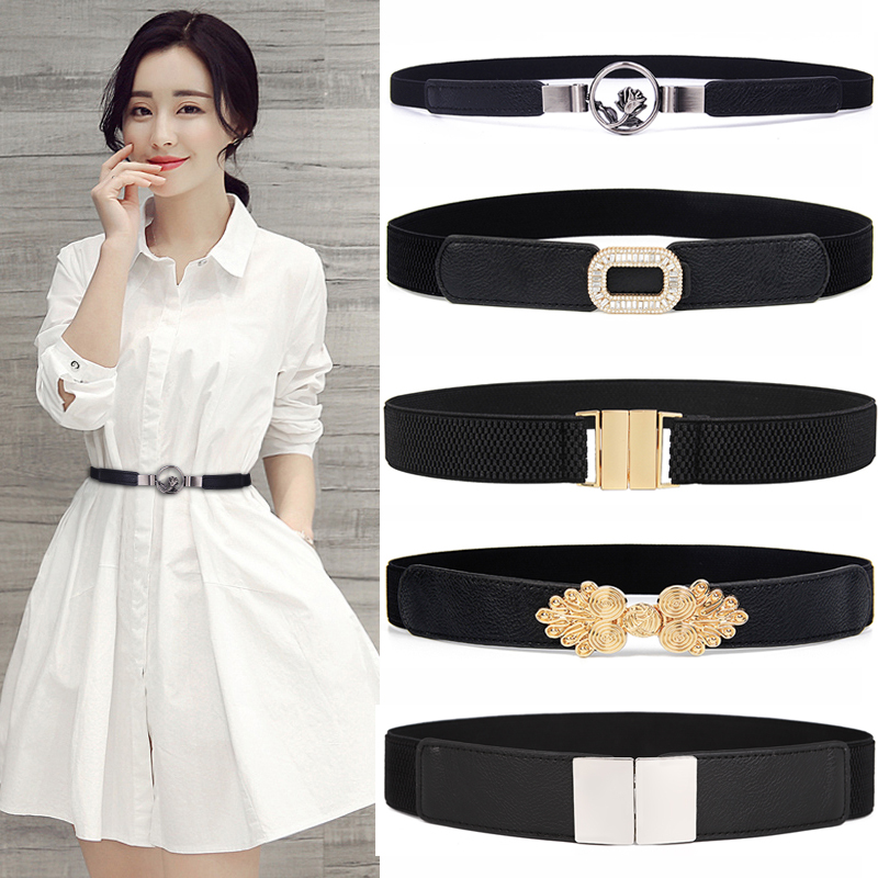 Fashion Women Belts Black White Waistband Wide Elastic Waistbands Dress Apparel Accessories Cinturon Mujer Hot Sale Cummerbunds