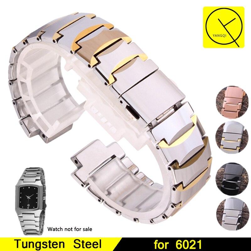Tungsten Steel Convex Mouth Bracelets Folding Clasp Watchbands for Rado 6021 Man Woman Watch Straps Accessories Bracelets+Tools часы rado true r27654152