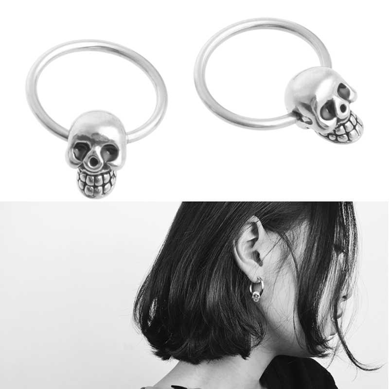 JAVRICK Punk Retro Skull Head Ear Piercing Studs Earrings Titanium Steel Ear Ghost Studs Personality jewelry gift