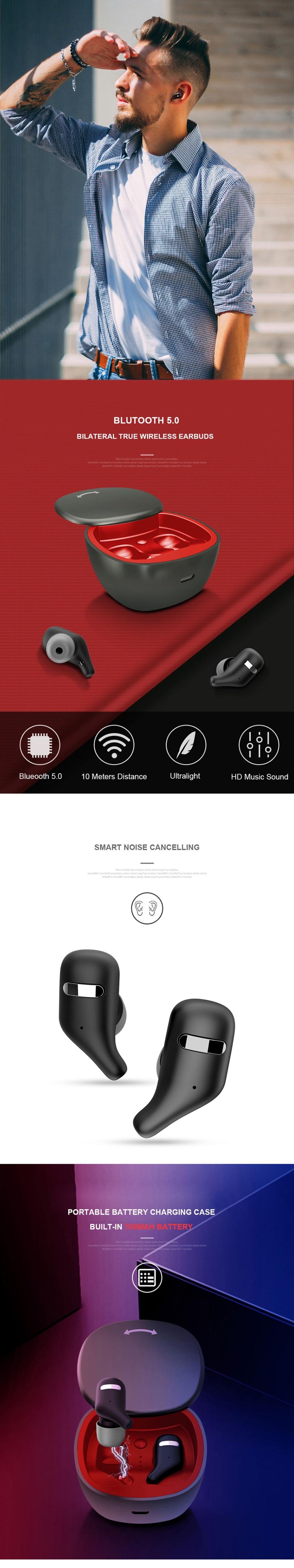 Volemer A2 Tws Bluetooth Earphone Wireless Sports Headset Auto Pairing Bluetooth Earphone Binaural HD Call Hifi Wireless Earbuds (1)