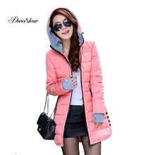 Women's Hooded Cotton-Padded Jacket Winter Medium-Long Cotton Coat Plus Size Down Jacket Female Slim Ladies Jackets Coats Gift