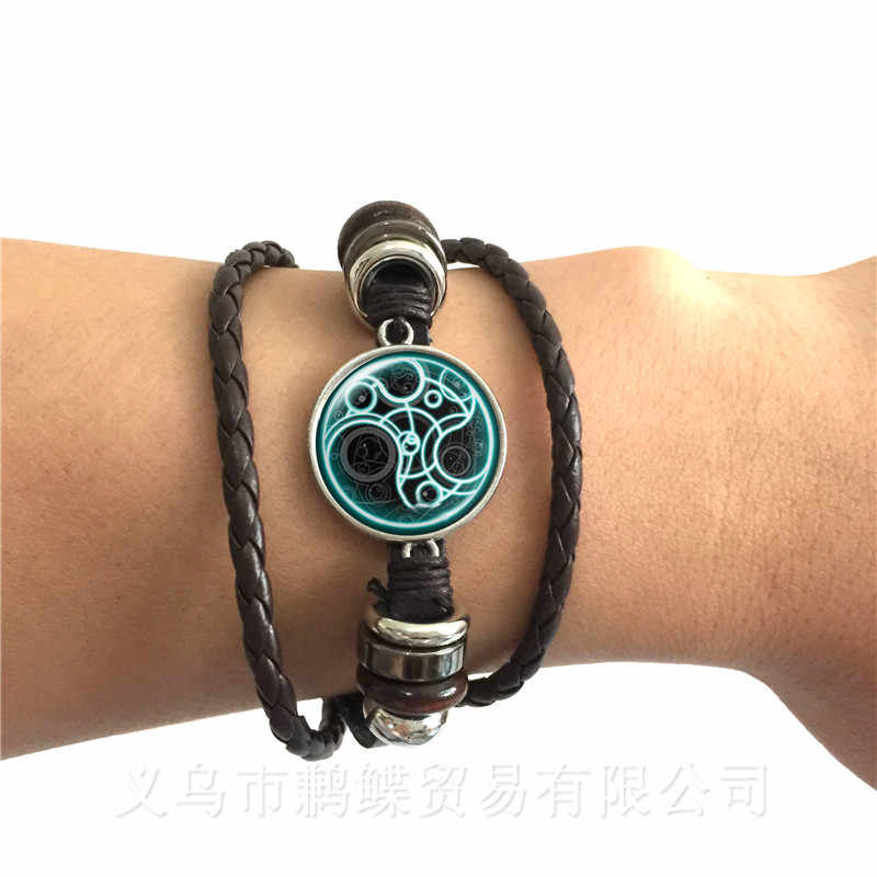 Magic Wiccan Pentacle Logo Leather Bracelet For Men Women Glass Cabochon Goth Bangle Keep Talisman And Treatment Of Injury Gift