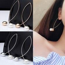 1pair Wholesale Lots Fashion Korean Cute Rock Imitation Pearls Bead Statement серьги женские Dangle Earring Jewelry for women