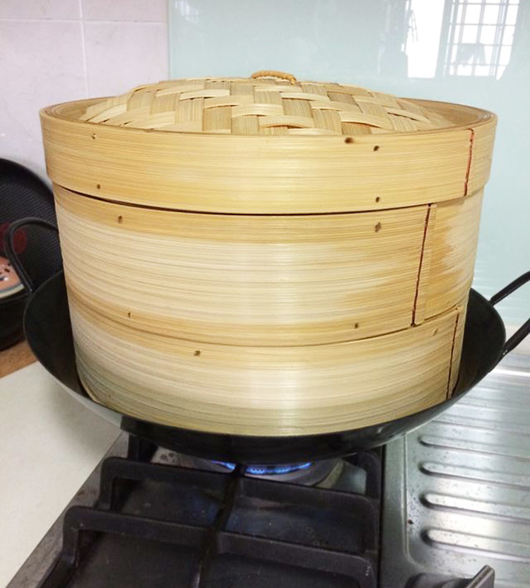 Chinese Commercial Food Bamboo Steamer Large Bambinos Steamer Household Buns Mandoo Leaf Rice Cage Cover Lid Cookware 40cm 45cm