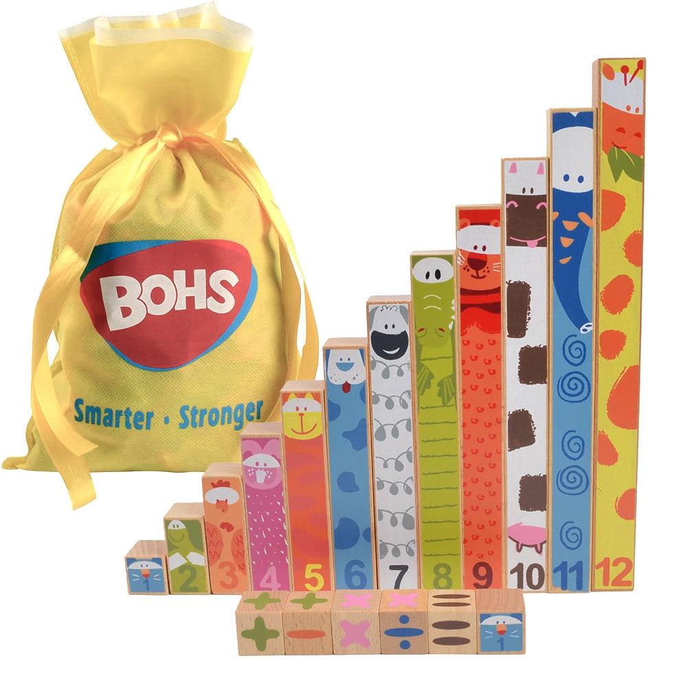 Montessori Fun Stick 18 Blocuri din lemn Matematică Materiale de - Învățare și educație
