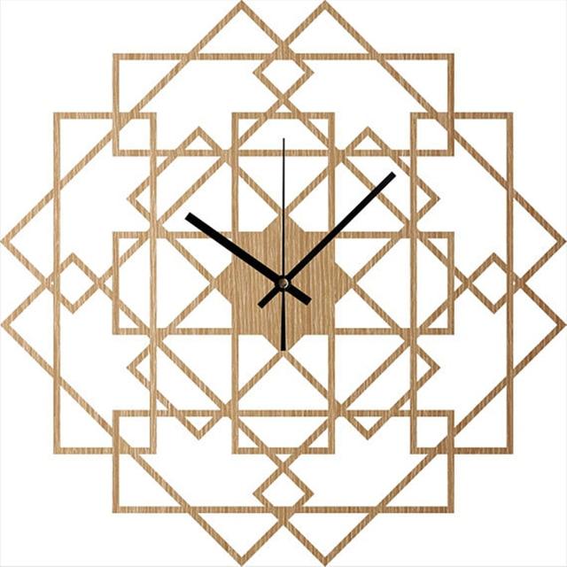 Us 23 64 45 Off Aliexpress Com Buy Square Wall Clock Wood Wall Clock House Wall Decor Rustic Home Clock Geometric Wooden Clock Modern Wall Art