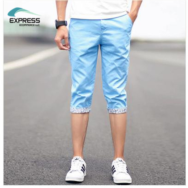 Free shipping 2017 summer new Korean fashion men's trousers pant cuffs plus size 28-40