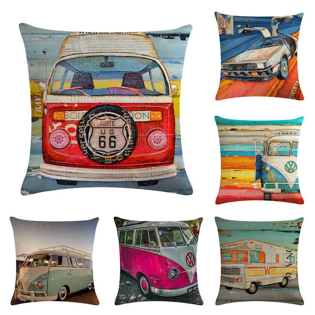 45 cm * 45 cm Retro Volkswagen bus disegno di lino/cotone tiro cuscino copre div
